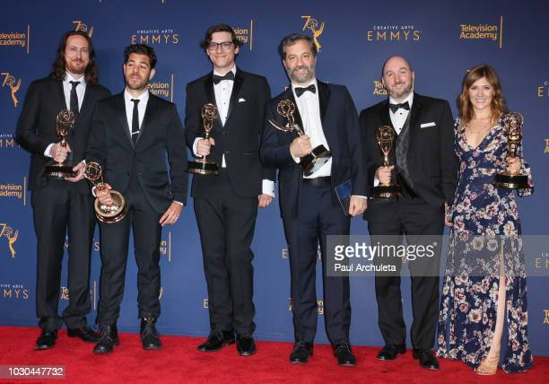 Michael Bonfiglio Joe Beshenkovsky Sam Fishell Judd Apatow Josh Church and Amanda Glaze pose in the press room of the 2018 Creative Arts Emmy Awards...