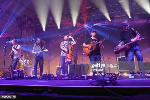 Michael Bont, Paul Hoffman, Mike Devol, Dave Bruzza, and Anders Beck of Greensky Bluegrass perform onstage at That Tent during Day 4 of the 2017...