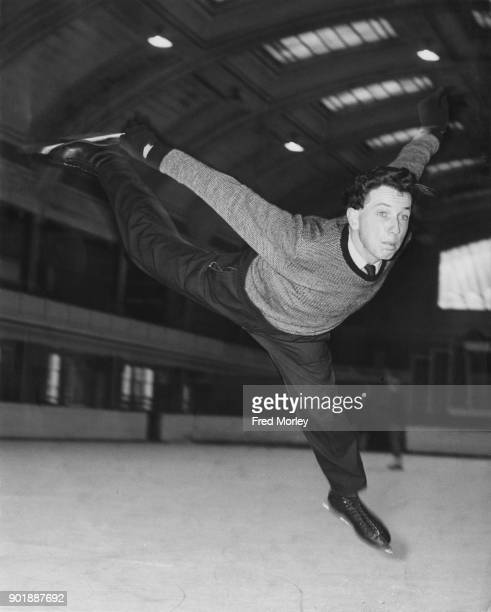 Michael Booker the British Skating Champion gets ready to defend his title at the Richmond Ice Rink in London 26th September 1957 Here he performs...
