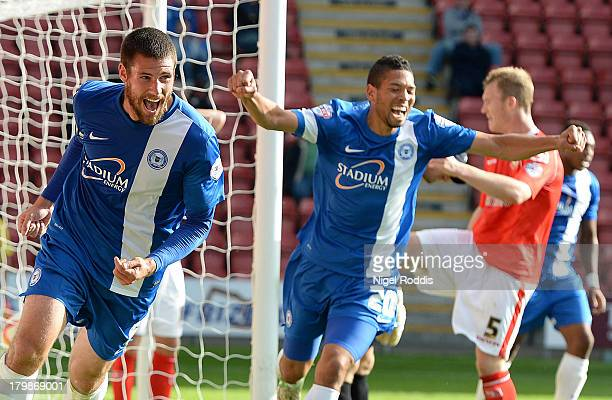 Michael Bostwick of Peterborough United celebrates scoring during their Sky Bet League One match against Crewe Alexander at the Alexandra Stadium on...