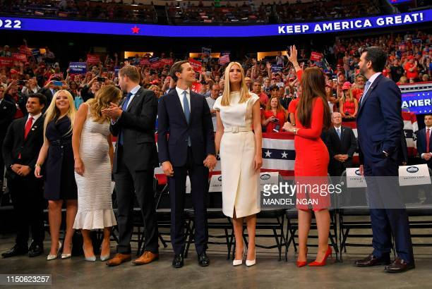 Michael Boulos Tiffany Trump Lara Trump Eric Trump Jared Kushner Ivanka Trump Kimberly Guilfoyle and Donald Trump Jr arrive at a rally for US...