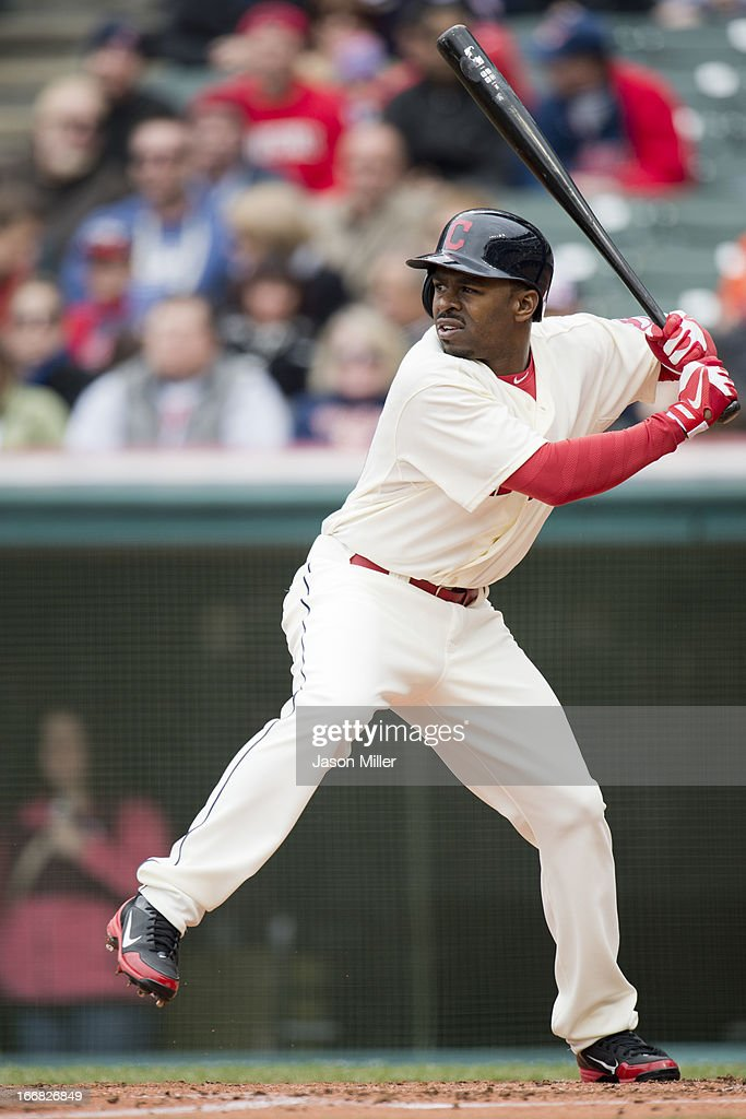 Michael Bourn #24 of the Cleveland Indians at bat during the third inning against the Cleveland Indians at Progressive Field on April 14, 2013 in Cleveland, Ohio. The White Sox defeated the Indians 3-1.
