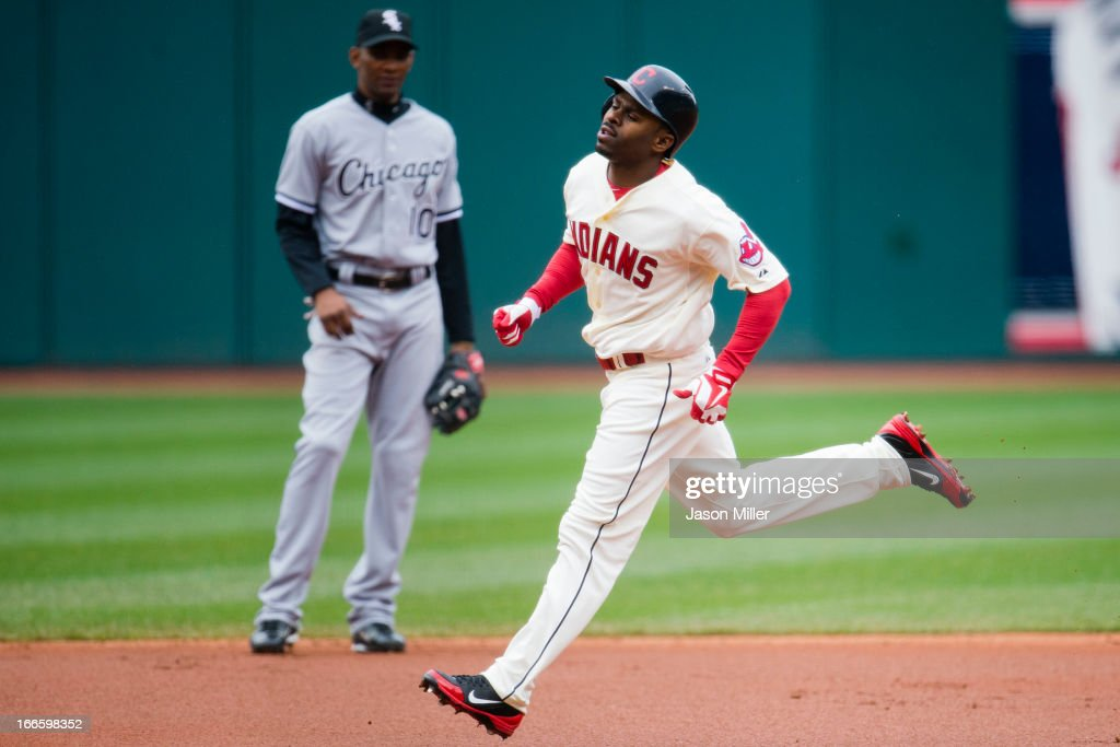 Michael Bourn #24 of the Cleveland Indians runs the bases after hitting a solo home run against the Chicago White Sox during the first inning at Progressive Field on April 14, 2013 in Cleveland, Ohio.