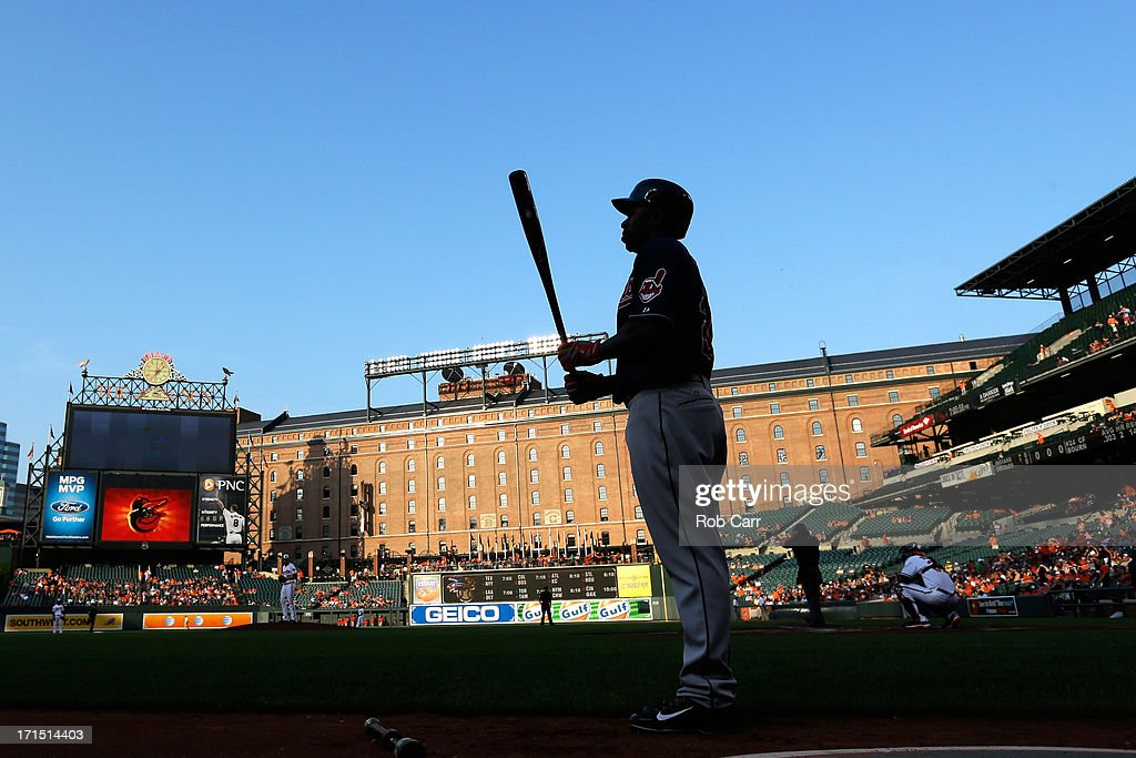 Michael Bourn #24 of the Cleveland Indians waits to bat against the Baltimore Orioles during the first inning at Oriole Park at Camden Yards on June 25, 2013 in Baltimore, Maryland.