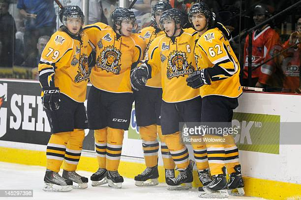 Michael Bournival of the Shawinigan Cataractes celebrates his first period goal with teammates during the 2012 MasterCard Memorial Cup game against...