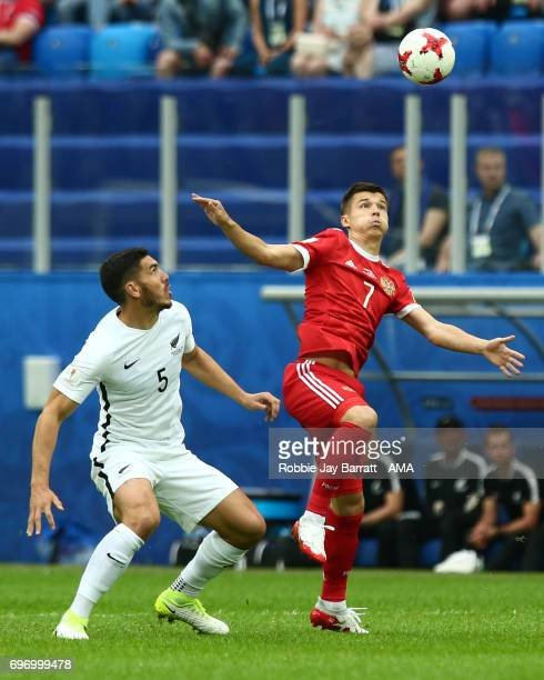 Michael Boxall of New Zealand and Dmitry Poloz of Russia during the Group A FIFA Confederations Cup Russia 2017 match between Russia and New Zealand...