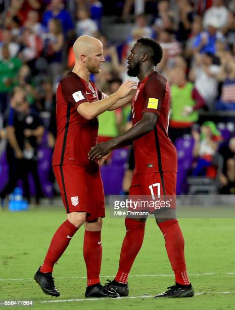 Michael Bradley and Jozy Altidore of United States celebrate winning the 2018 FIFA World Cup Qualifying match against Panama at Orlando City Stadium...