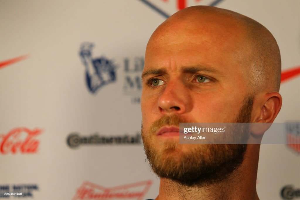 Michael Bradley attends the United States mens national team pre-match press conference at the Hyatt Regency Hotel on October 9, 2017 in Port of Spain, Trinidad And Tobago.