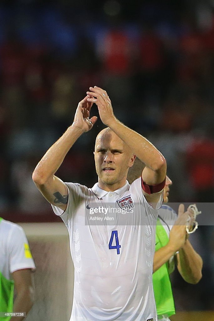 Michael Bradley, captain of the USA national soccer team applauds the crowd and US section of support during a World Cup Qualifier between Trinidad and Tobago and USA as part of the FIFA World Cup Qualifiers for Russia 2018 at Hasely Crawford Stadium on November 17, 2015 in Port of Spain, Trinidad & Tobago.