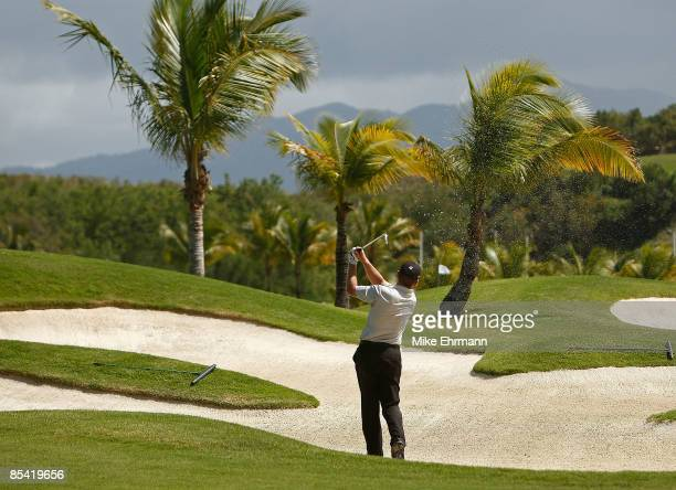 Michael Bradley hits a fairway bunker shot on the 5th hole during the second round of the 2009 Puerto Rico Open presented by Banco Popular on March...