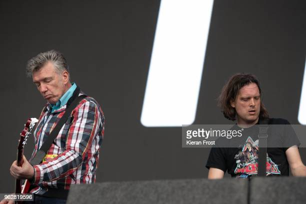 Michael Bradley of the Undertones performs with Mark Hamilton of Ash performs at the BBC 6Music Biggest Weekend at Titanic Slipways on May 26 2018 in...