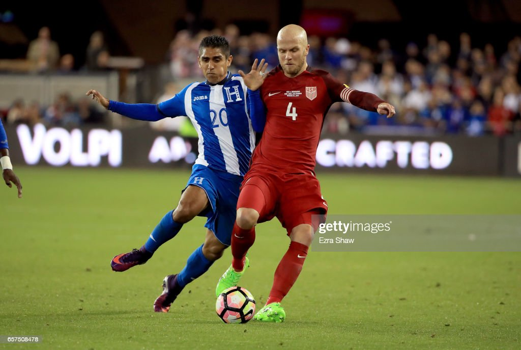 Michael Bradley #4 of the United States and Jorge Claros #20 of Honduras go for the ball during their FIFA 2018 World Cup Qualifier at Avaya Stadium on March 24, 2017 in San Jose, California.