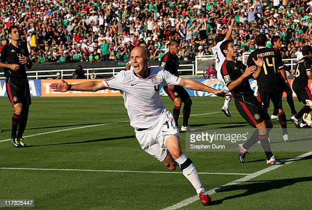 Michael Bradley of the United States celebrates after scoring a goal in the first half against Mexico during the 2011 CONCACAF Gold Championship at...