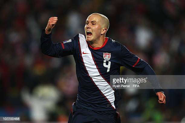 Michael Bradley of the United States celebrates scoring his team's second goal during the 2010 FIFA World Cup South Africa Group C match between...