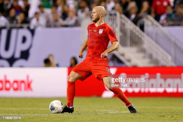 Michael Bradley of the United States dribbles the ball in the first half against Mexico during the 2019 CONCACAF Gold Cup Final at Soldier Field on...
