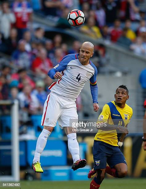 Michael Bradley of the United States heads the ball against Michael Arroyo of Ecuador during the 2016 Quarterfinal Copa America Centenario match at...