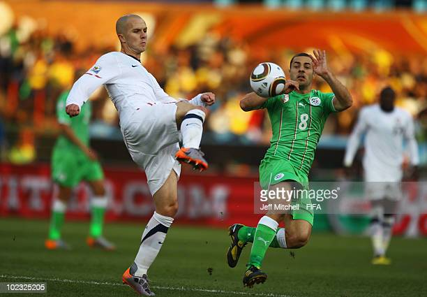 Michael Bradley of the United States in action against Medhi Lacen of Algeria during the 2010 FIFA World Cup South Africa Group C match between USA...