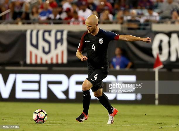 Michael Bradley of the United States makes a pass during the FIFA 2018 World Cup Qualifier against Trinidad Tobago at EverBank Field on September 6...