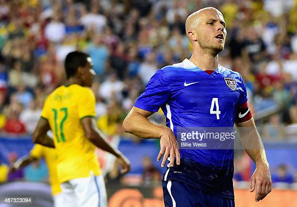 Michael Bradley of the United States reacts after missing a shot on goal during an international friendly against Brazil at Gillette Stadium on...