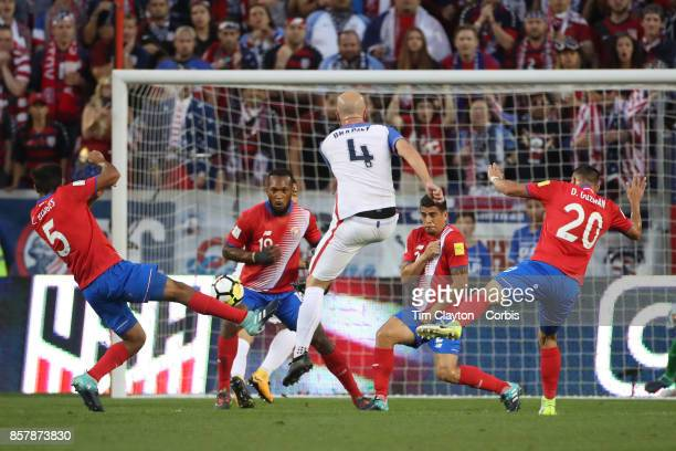 Michael Bradley of the United States shoots during the United States Vs Costa Rica CONCACAF International World Cup qualifying match at Red Bull...