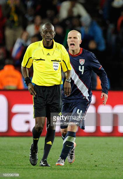 Michael Bradley of the United States shouts at referee Koman Coulibaly during the 2010 FIFA World Cup South Africa Group C match between Slovenia and...
