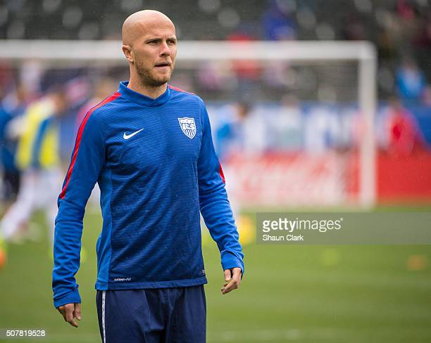 Michael Bradley of the United States warms up prior to the the International Soccer Friendly match between the United States and Iceland at the...