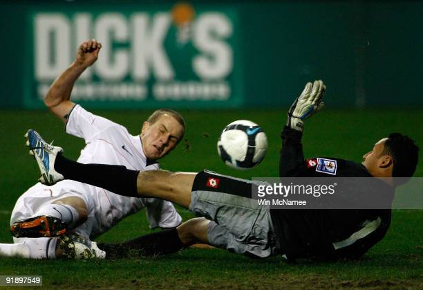 Michael Bradley of the U.S. Scores the first goal for the U.S. Against goalie Keilor Navas of Costa Rica in their FIFA 2010 World Cup Qualifier at...