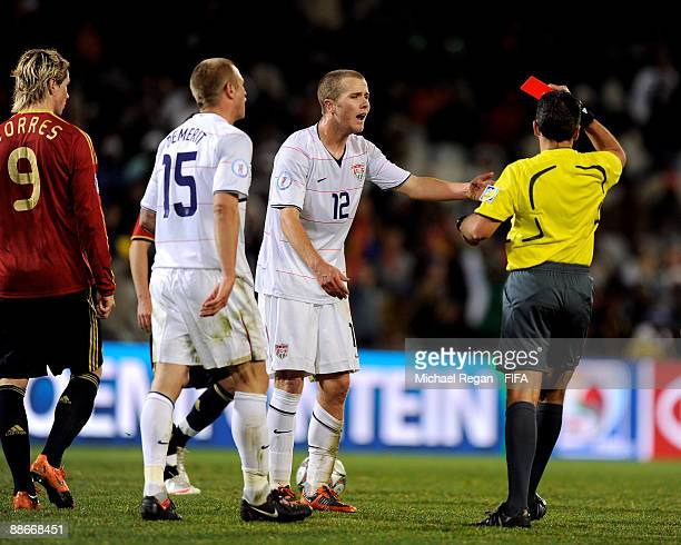 Michael Bradley of the USA is sent off during the FIFA Confederations Cup Semi Final between Spain and USA at the Free State Stadium on June 24 2009...