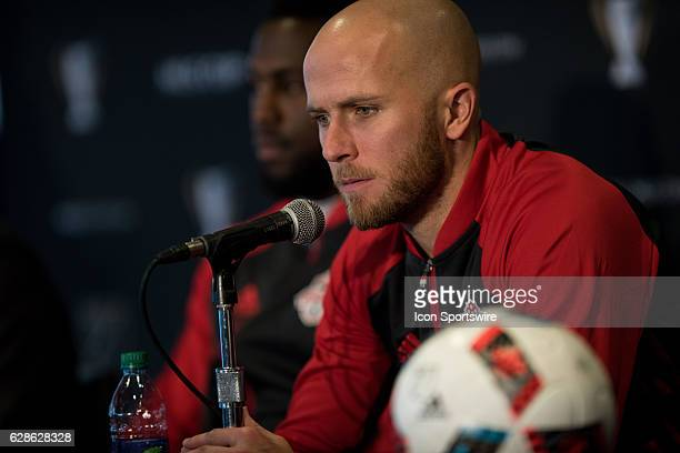 Michael Bradley of Toronto FC answers a question during the MLS Cup Team Press Conference on December 8 at Kia Training Ground in Toronto ON Canada