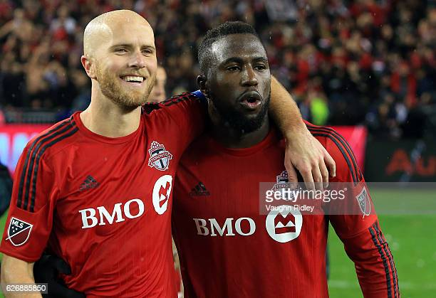 Michael Bradley of Toronto FC celebrates with Jozy Altidore at the final whistle following the MLS Eastern Conference Final Leg 2 game against...