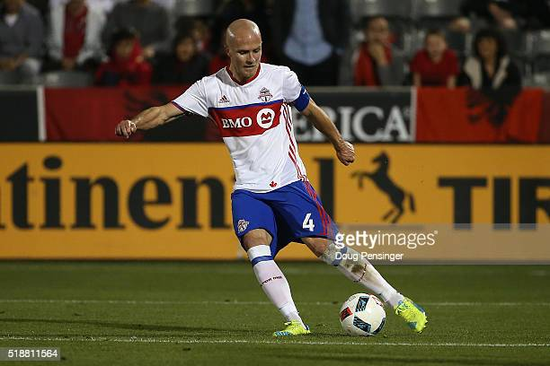 Michael Bradley of Toronto FC controls the ball against the Colorado Rapids at Dick's Sporting Goods Park on April 2 2016 in Commerce City Colorado...