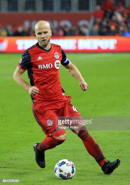 Michael Bradley of Toronto FC dribbles the ball during the second half of the MLS Eastern Conference Finals Leg 2 game against Columbus Crew SC at...