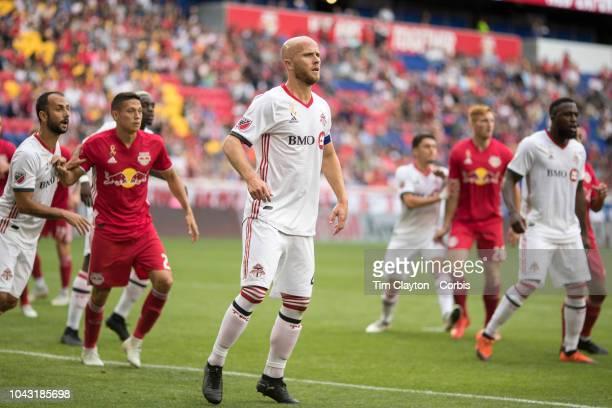 Michael Bradley of Toronto FC guards the near post during a corner kick during the New York Red Bulls Vs Toronto FC MLS regular season game at Red...