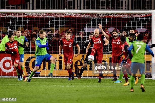 Michael Bradley of Toronto FC kicks the ball during the last minute of added time of the 2017 MLS Cup Final between Toronto FC and Seattle Sounders...