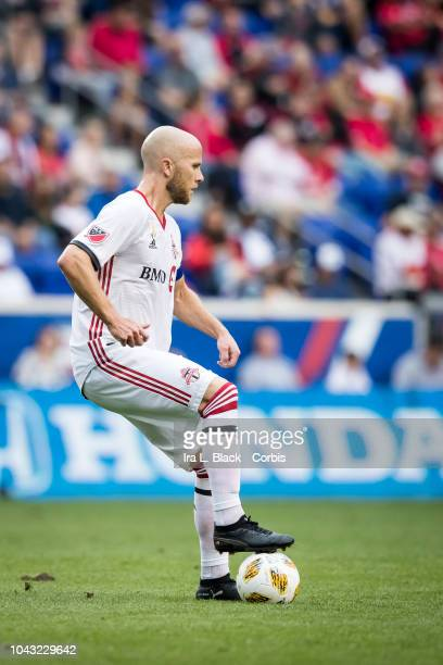 Michael Bradley of Toronto FC looks for the opening during the Major League Soccer match between Toronto FC and New York Red Bulls at Red Bull Arena...
