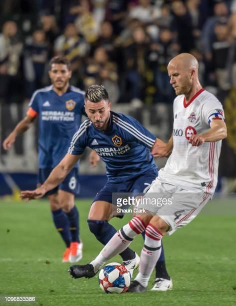 Michael Bradley of Toronto FC on the ball as Romain Alessandrini of Los Angeles Galaxy defends during the Los Angeles Galaxy's MLS Preseason Friendly...