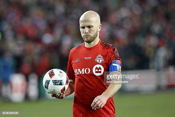Michael Bradley of Toronto FC prepares to take a penalty shot against the Seattle Sounders on December 10 at BMO Field in Toronto ON Canada Seattle...