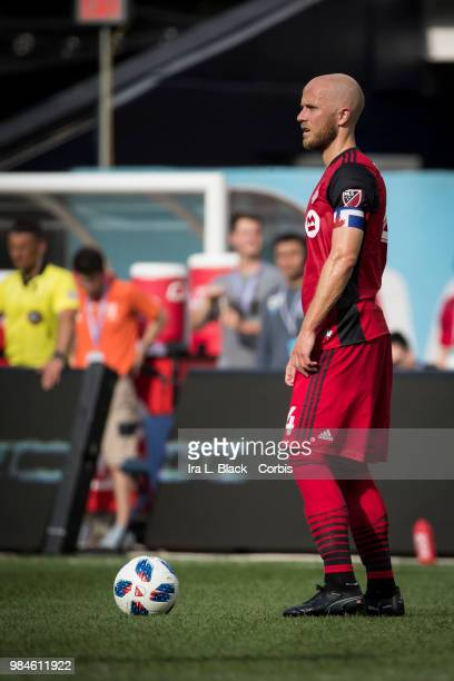 Michael Bradley of Toronto FC waits to put the ball in play during the MLS match between New York City FC and Toronto FC at Yankee Stadium on June 24...