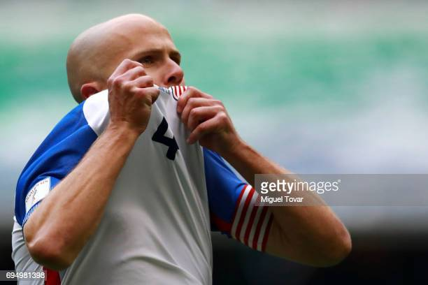 Michael Bradley of US celebrates after scoring the first goal of his team during the match between Mexico and The United States as part of the FIFA...