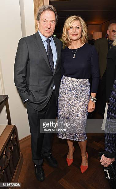 Michael Brandon and Glynis Barber attend an after party following Dame Joan Collins' one woman show 'Joan Collins Unscripted' at the Cafe Royal on...