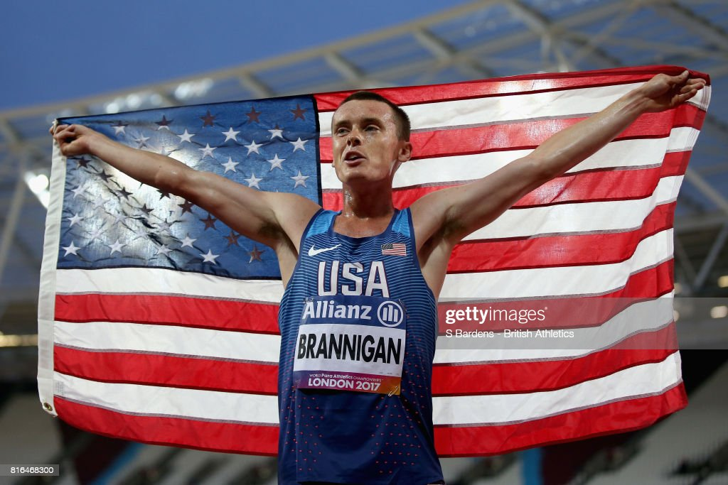 Michael Brannigan of the United States celebrates winning gold in the Men's 1500m T20 Final during Day Four of the IPC World ParaAthletics Championships 2017 London at London Stadium on July 17, 2017 in London, England.