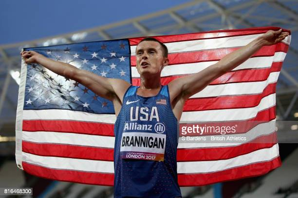 Michael Brannigan of the United States celebrates winning gold in the Men's 1500m T20 Final during Day Four of the IPC World ParaAthletics...