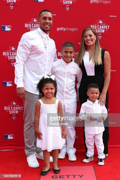 Michael Brantley of the Cleveland Indians and the American League and guests attend the 89th MLB AllStar Game presented by MasterCard red carpet at...