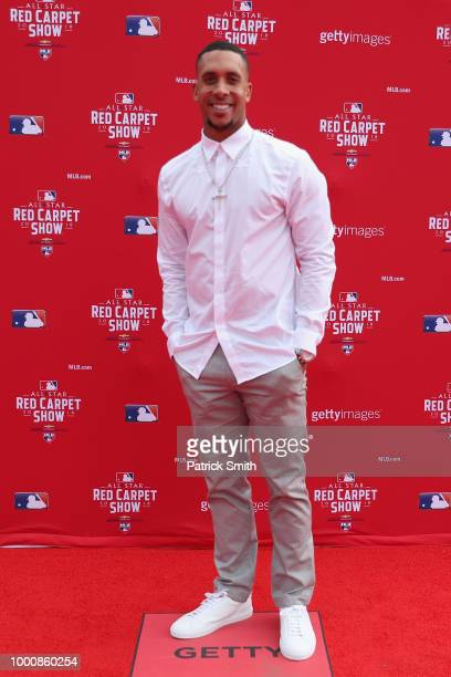Michael Brantley of the Cleveland Indians and the American League attends the 89th MLB AllStar Game presented by MasterCard red carpet at Nationals...