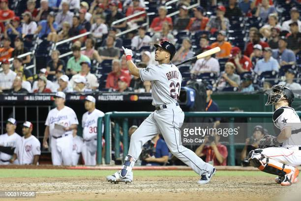 Michael Brantley of the Cleveland Indians bats during the 89th MLB AllStar Game presented by Mastercard at Nationals Park on July 17 2018 in...