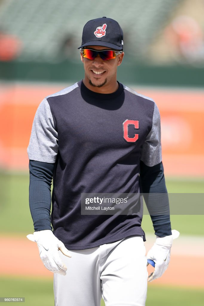 Michael Brantley #23 of the Cleveland Indians looks on during batting practice of a baseball game against the Baltimore Orioles at Oriole Park at Camden Yards on April 21, 2018 in Baltimore, Maryland. The Indians won 4-0. (Photo by Mitchell Layton/Getty Images) Michael Brantley