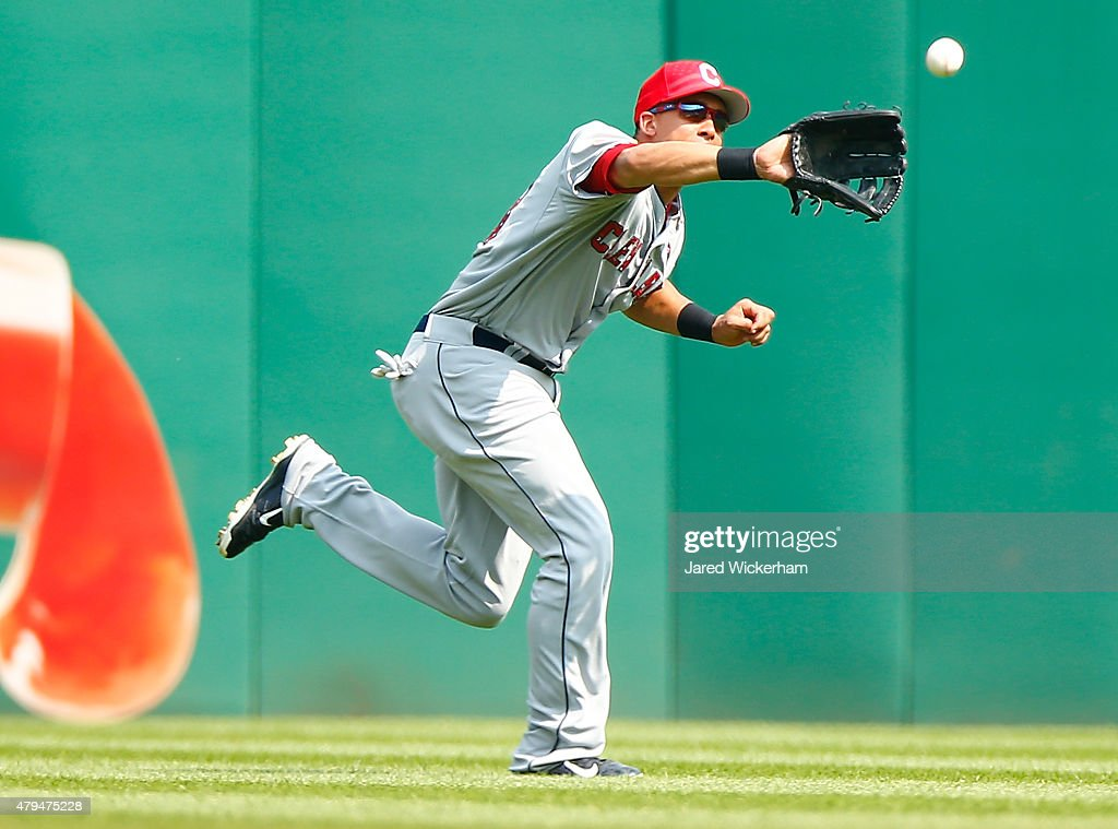 Michael Brantley #23 of the Cleveland Indians makes a catch in center field in the first inning against the Pittsburgh Pirates during the interleague game at PNC Park on July 4, 2015 in Pittsburgh, Pennsylvania.