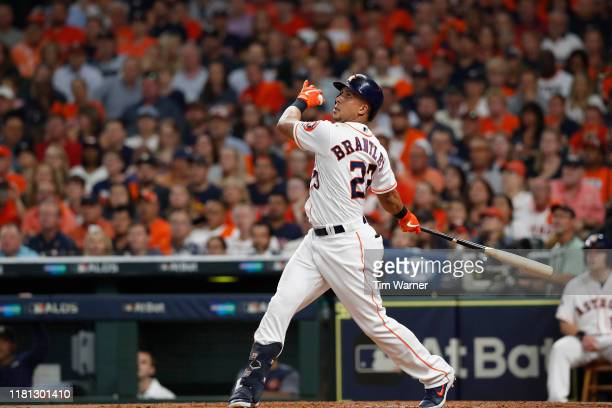 Michael Brantley of the Houston Astros bats in the second inning against the Tampa Bay Rays during game five of the American League Divisional Series...