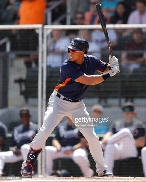 Michael Brantley of the Houston Astros in action against the Atlanta Braves during a Grapefruit League spring training game at CoolToday Park on...