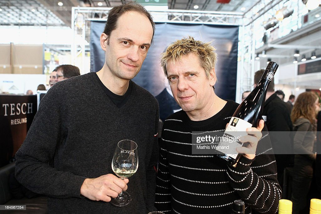 Michael Breitkopf and Andreas Meurer of 'Die Toten Hosen' at the wine testing for the new Tesch Riesling at the 'Pro Wein' Traide Fair Düsseldorf on March 24, 2013 in Dusseldorf, Germany.